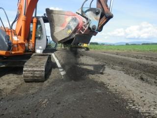 土壌改良剤撹拌状況
